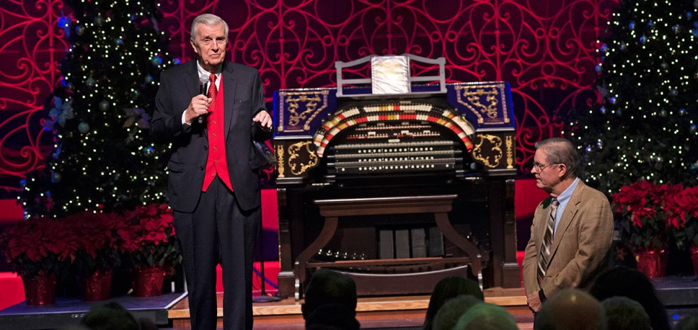 Don Siekmann, Producer and Master of Ceremonies for the Wurlitzer concerts, with Ron Wehmeier, Theatre Organ Expert
