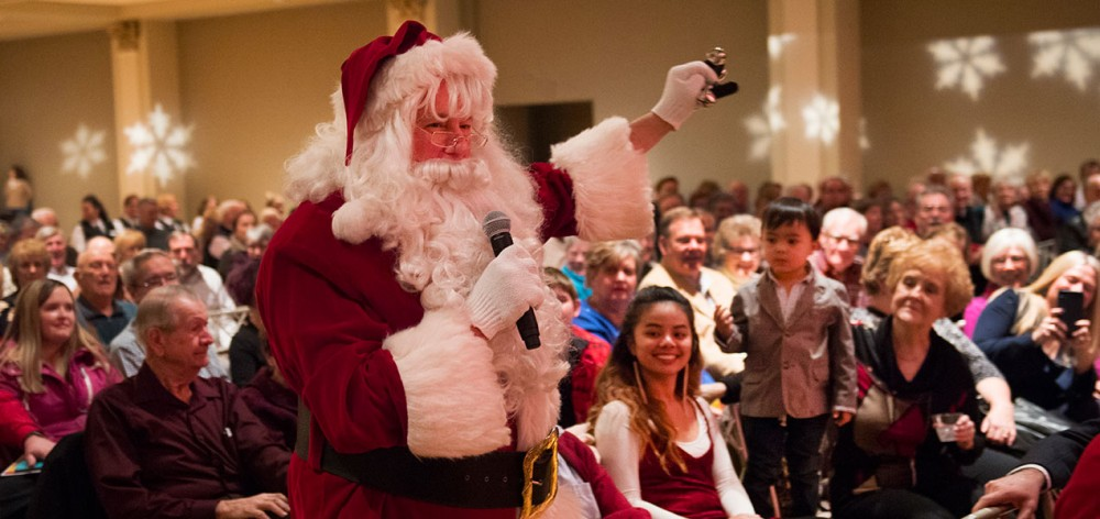 Santa Claus stopped by the Music Hall Ballroom to wish everyone a wonderful holiday season.