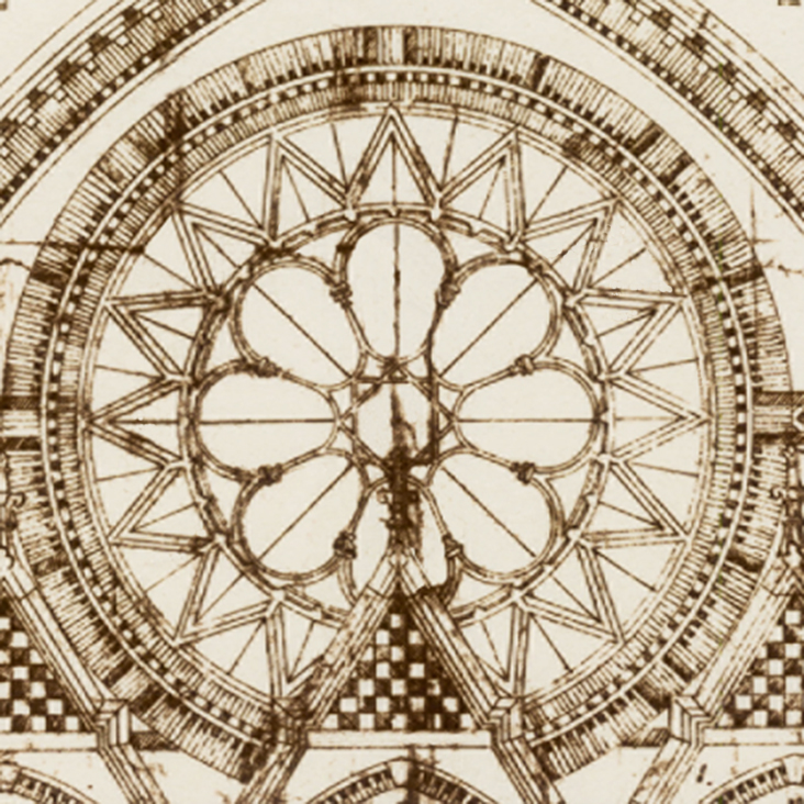 The rose window as drawn by the architect Samuel Hannaford