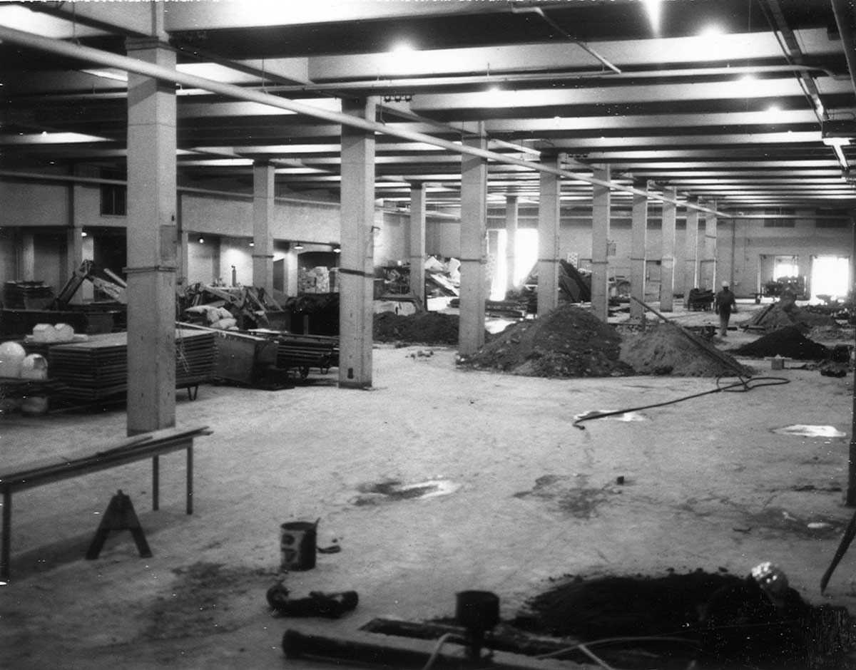 South hall during late 1960s-early 1970s renovations.