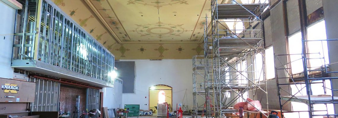 Ceiling restoration and stenciling in Corbett Tower