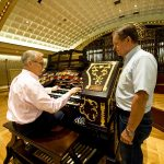 Ron Wehmeier of Ronald F. Wehmeier, Inc. Pipe Organ Service rebuilt the Wurlitzer, oversaw the construction work and installed the organ in the Ballroom of Cincinnati Music Hall.