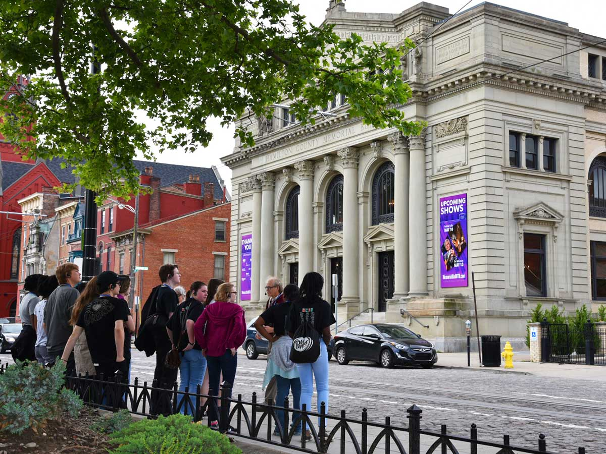 Music Hall outdoor tour includes neighboring structures
