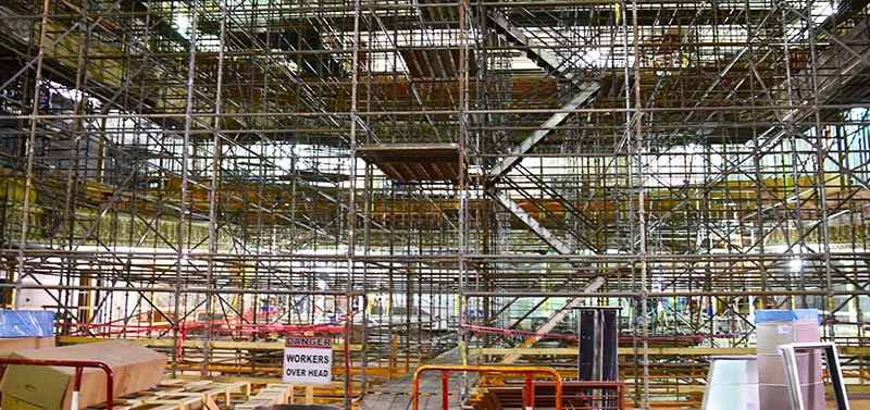 Scaffolding fills Springer Auditorium