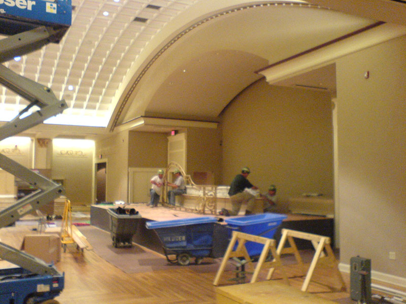 Work is underway to remove the stage.