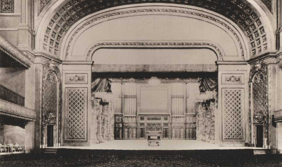 Stage with Proscenium and Organ, undated photo