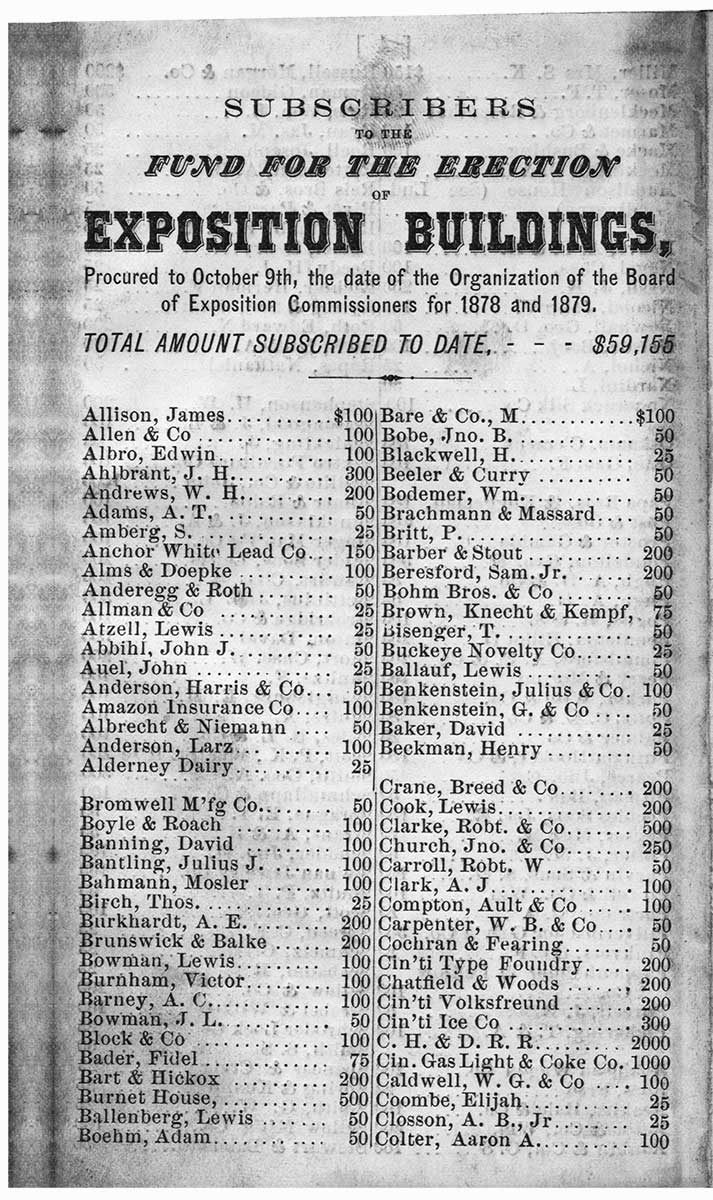 List of Subscribers for the Exposition Buildings