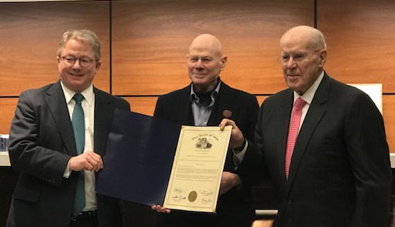 "L-to-R: SPMH President Peter Koenig, ""Mr. Cincinnati"" Jim Tarbell, Otto M. Budig, Jr."