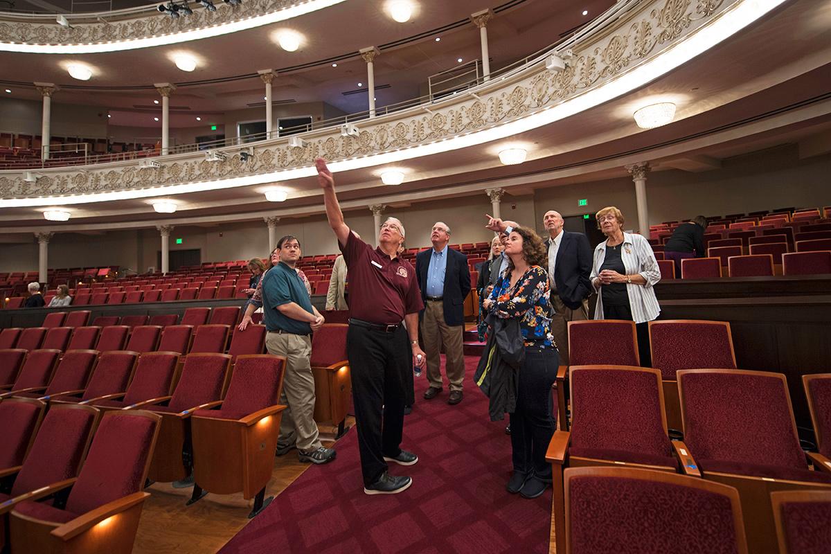 David Lane with tour guests in Springer Auditorium