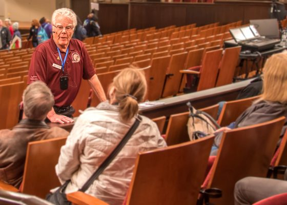 SPMH Volunteer Ekkehard Bohme with tour group