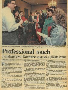 The Cincinnati Enquirer, January 1991, article on the CSO Education Program and Northwest High School students