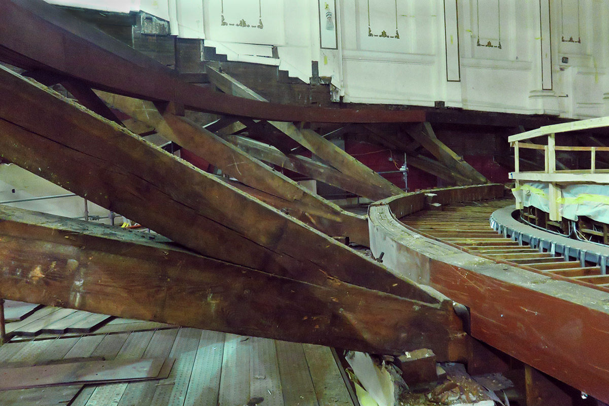 The joists supporting the balcony of Music Hall, as seen during the reconstruction.