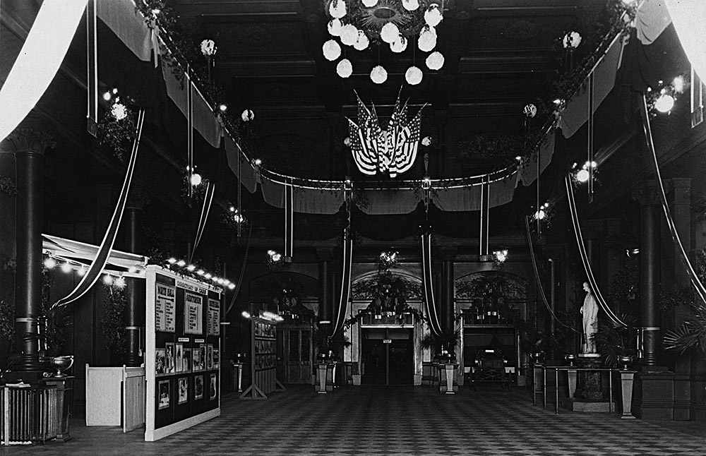 Music Hall Foyer for 1923 Auto Show, facing the entrance to the south hall