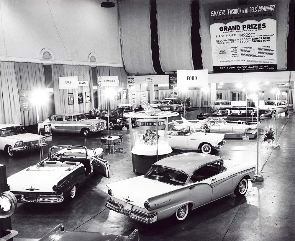 """The Auto Show returned to Music Hall in 1957 with a """"Fashion on Wheels"""" contest"""