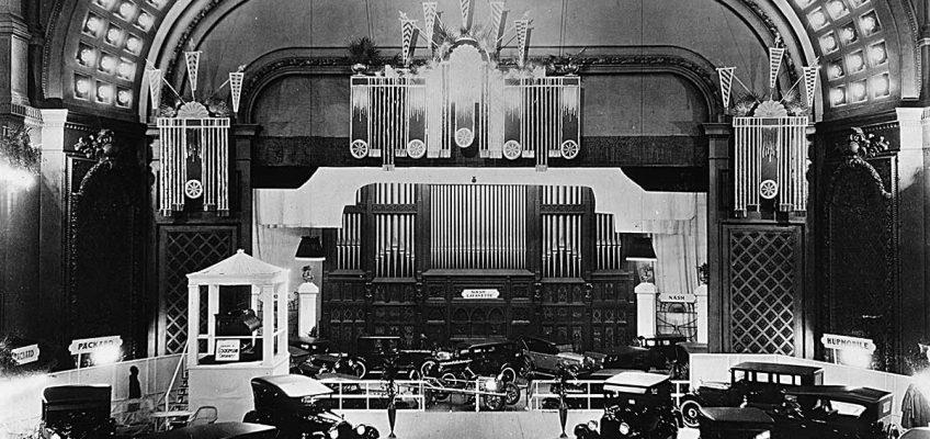 Auto Expo circa 1920s Cincinnati Music Hall shows Autos on floor over seats in Springer Auditorium