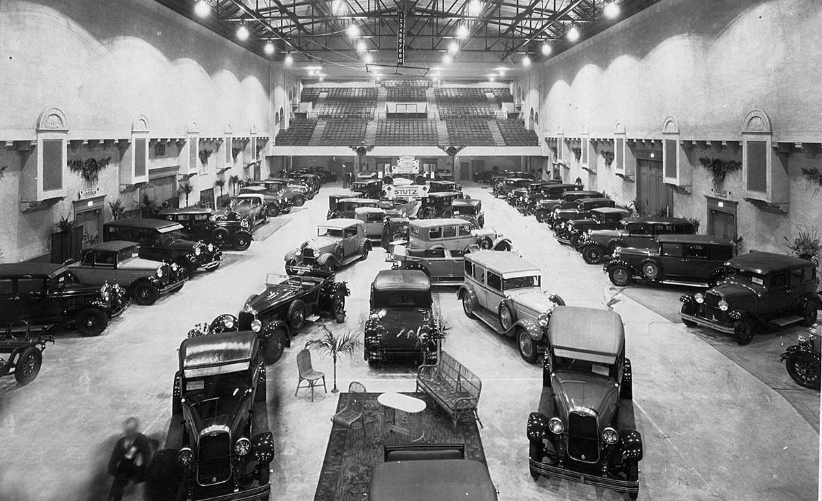 Auto Show display in the North Hall Sports Arena in the 1930s