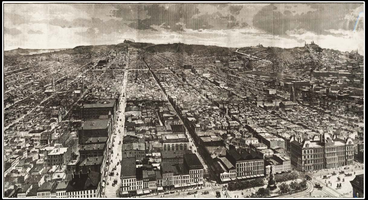A Bird's Eye View of 1886 Cincinnati, looking north from Fountain Square (bottom right)