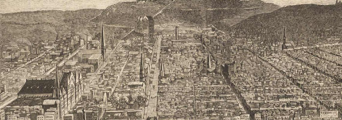 1886 Cincinnati as seen from a balloon, including Music Hall, OTR, Church spires and hillsides