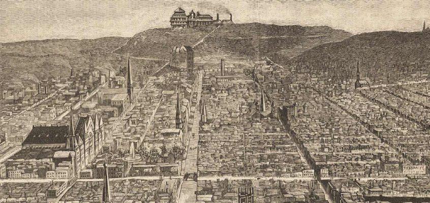 1886 Cincinnati as seen from a balloon, including Music Hall, OTR, Church spires and hillsides