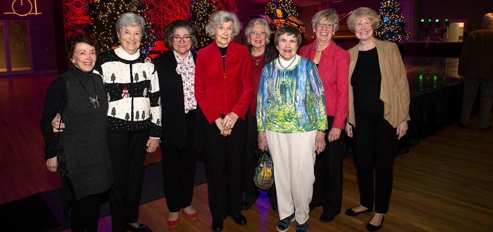 Friends night out at the Wurlitzer concert! L->R: Carolyn Rand, Betty Straus, Linda Siekmann, Marion Stites, Ann Wiethe, Alice Penrod, Betty Tonne, and Carol Parsons.