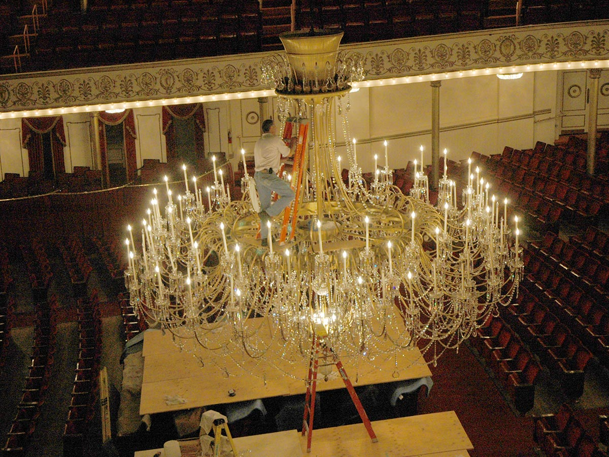 Cleaning the chandelier is quite an event