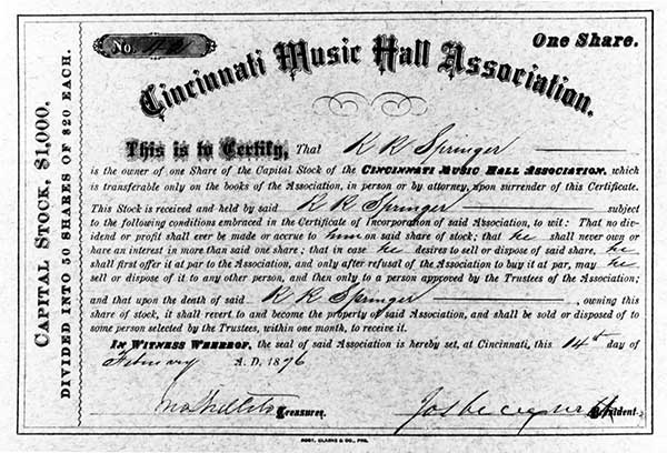 CMHA share of capital stock issued to R. R. Springer on 14 February 1876