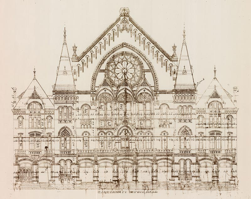 Hannaford's architectural drawing of Cincinnati Music Hall