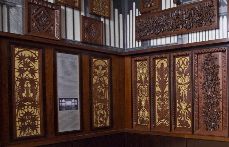 Friends of Music Hall underwrote the restoration of art-carved panels from the original Hook & Hastings Organ in Music Hall