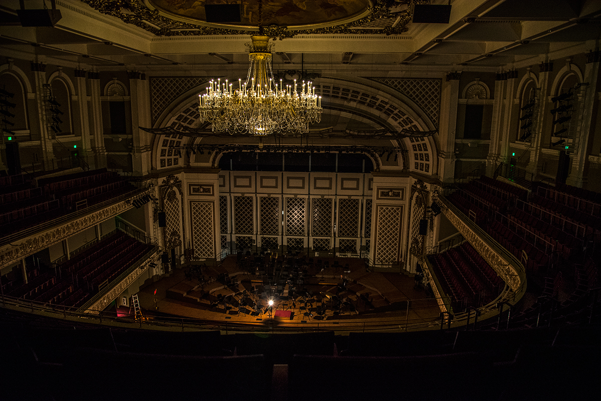 Ghost light in Springer Auditorium, Cincinnati Music Hall