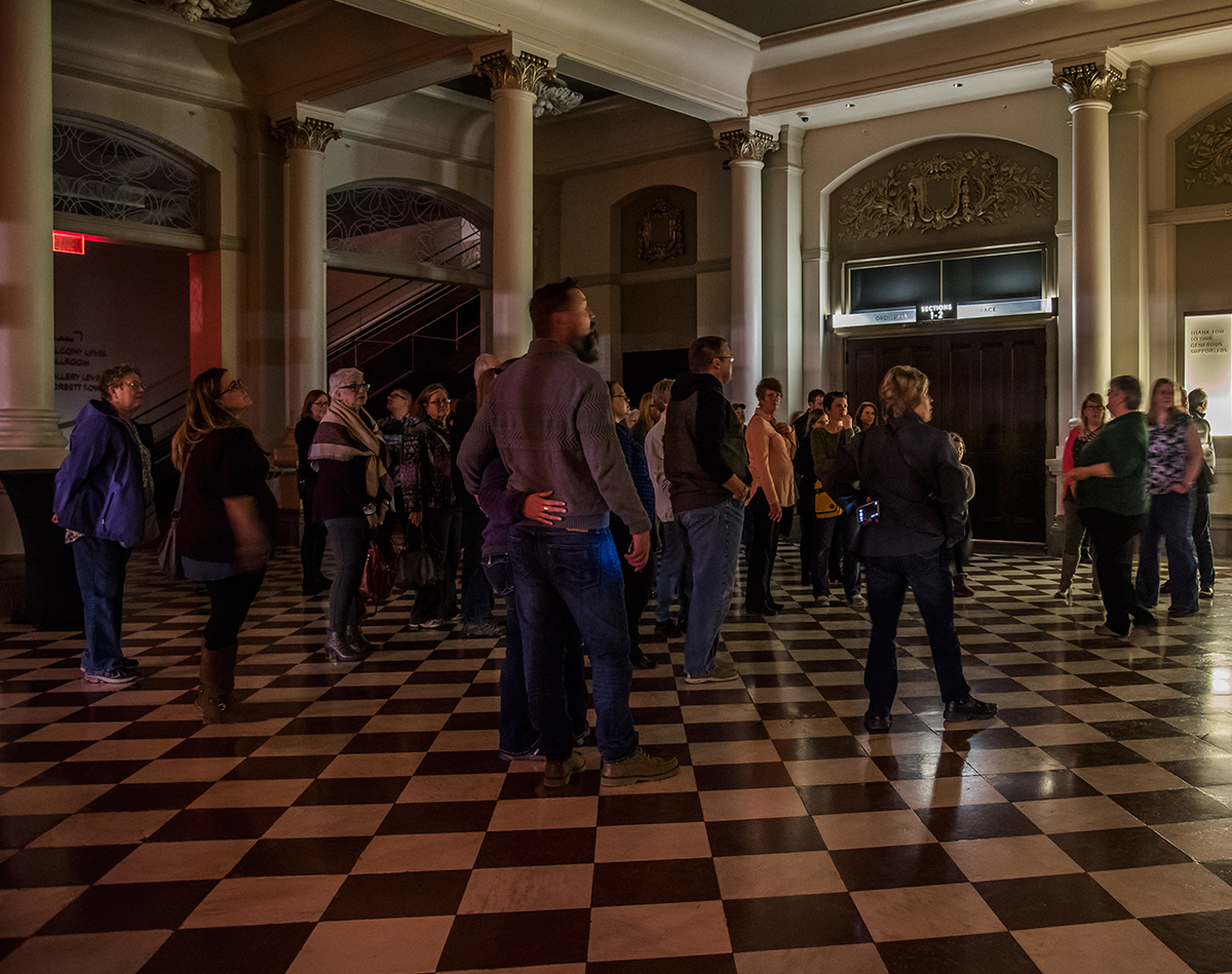 Ghost Tour participants in Music Hall Lobby