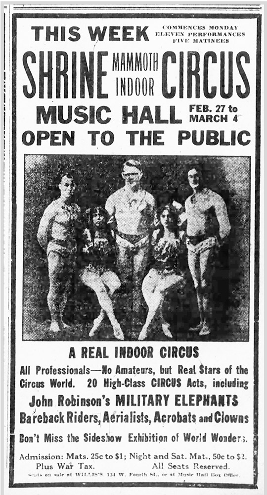 Ad for the 1922 Shrine Circus in Music Hall