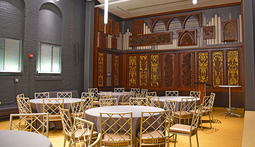 Art-carved panels in Music Hall