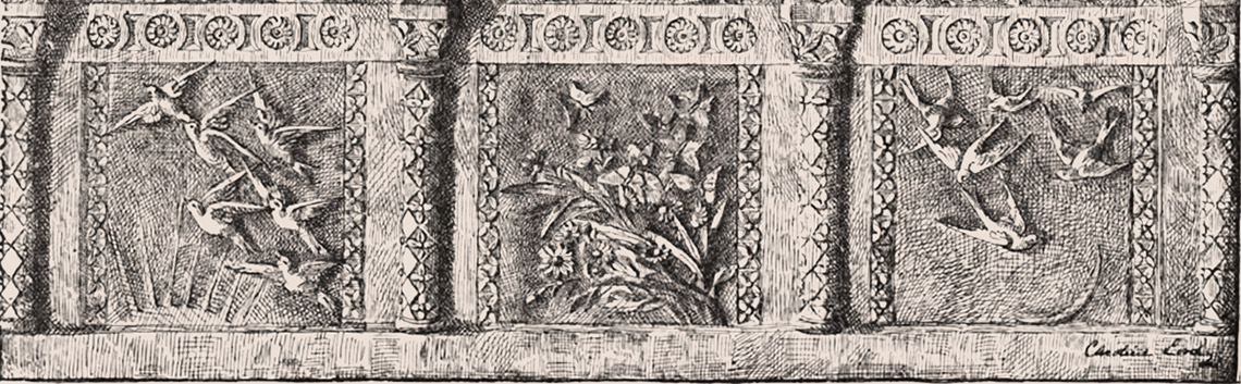 Illustration of Morning, Noon and Evening art-carved panels