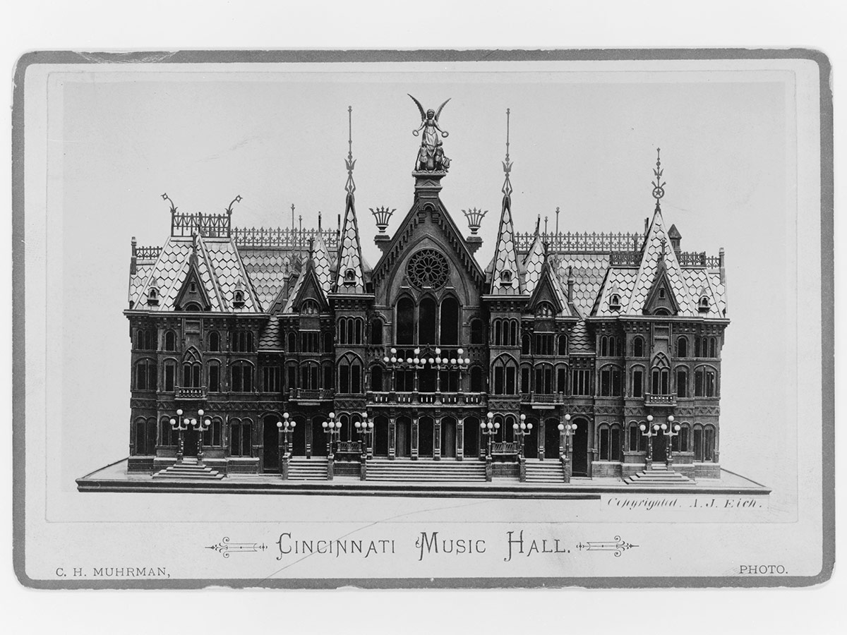 A photograph of a model of Cincinnati Music Hall from the Library of Congress, dated circa 1881