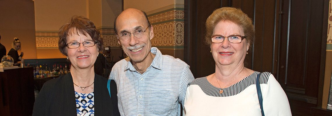SPMH members Patty Wagner (left) and Nancy Wagner with CSO bassist Matt Zory