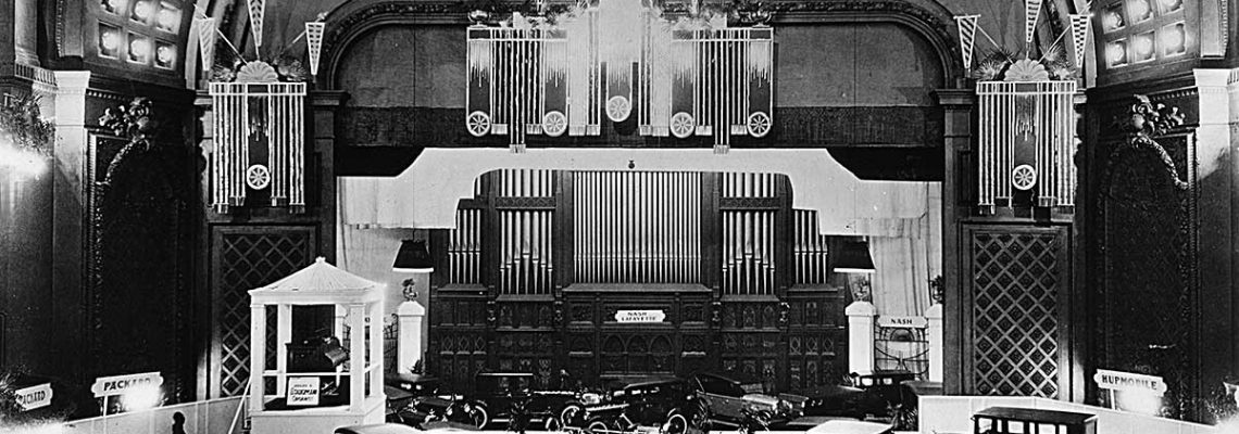 Auto Expo circa 1920s Cincinnati Music Hall shows Autos on floor over seats in Springer Auditorium
