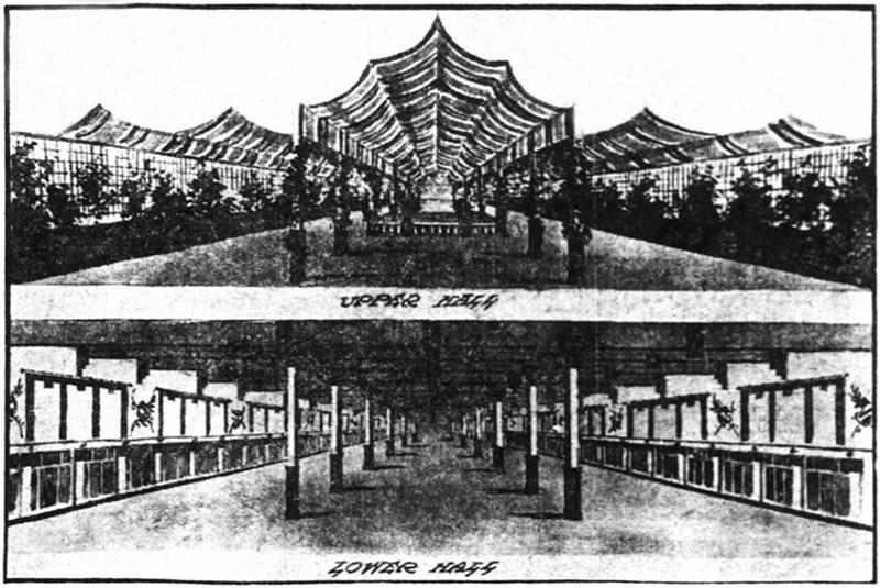 Sketch of design for the 1911 Auto Show at Music Hall