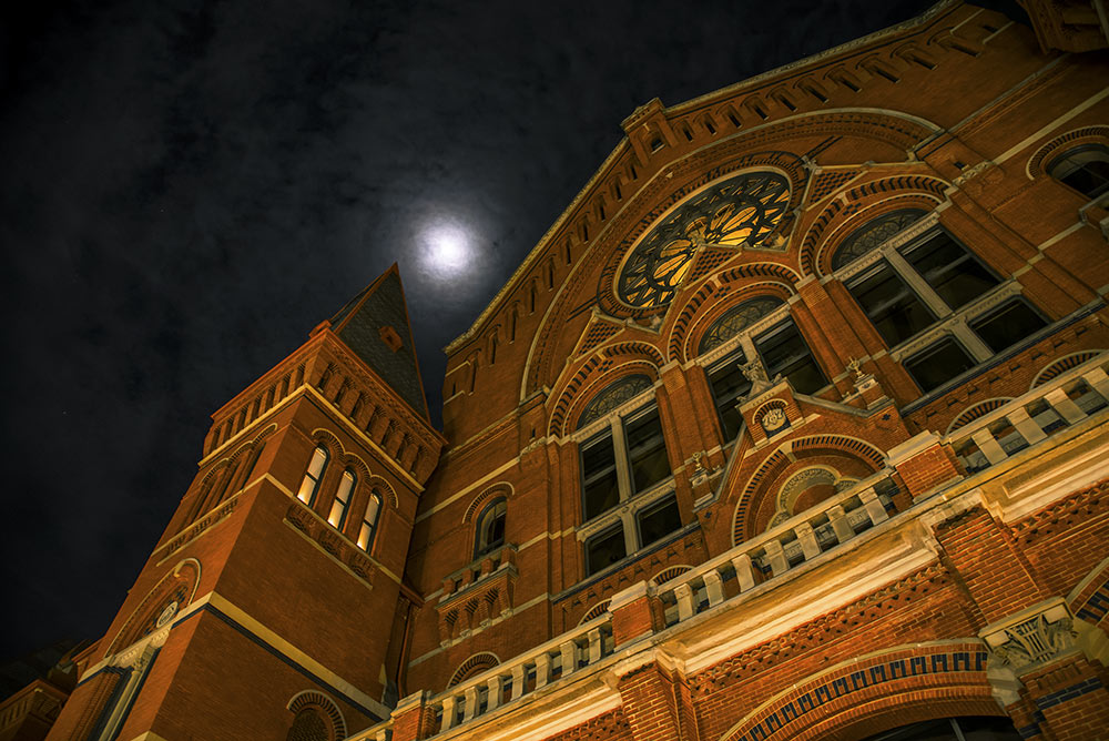 Full moon over Music Hall on the night of a ghost tour