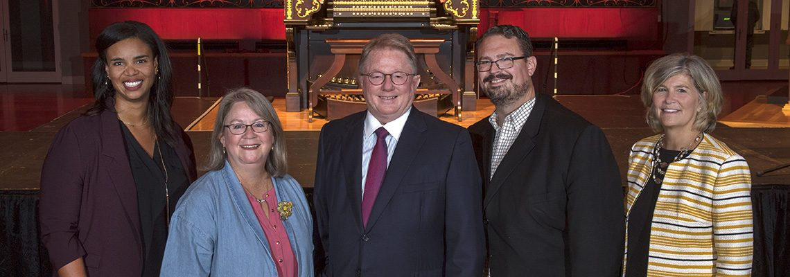 Speakers at the 2019 Friends of Music Hall Annual Meeting: Nicole Roberts of Kolar Design, FMH Board VP Tricia Johnson, Board President Peter Koenig, CSO VP of Communications Chris Pinelo and Lisa Allison, VP, Friends of Music Hall