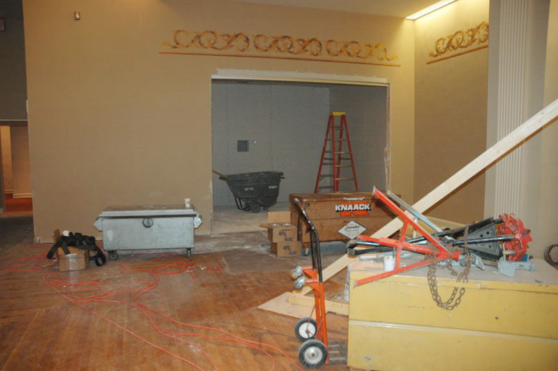 Just a few feet north of the pipes is an area that will become a spotlighted, glass-doored room to store the Wurlitzer.