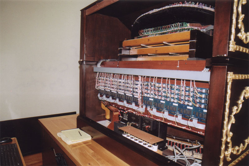 A look inside the back of the Console. Uniflex 3000 Relay System, computer controlled.
