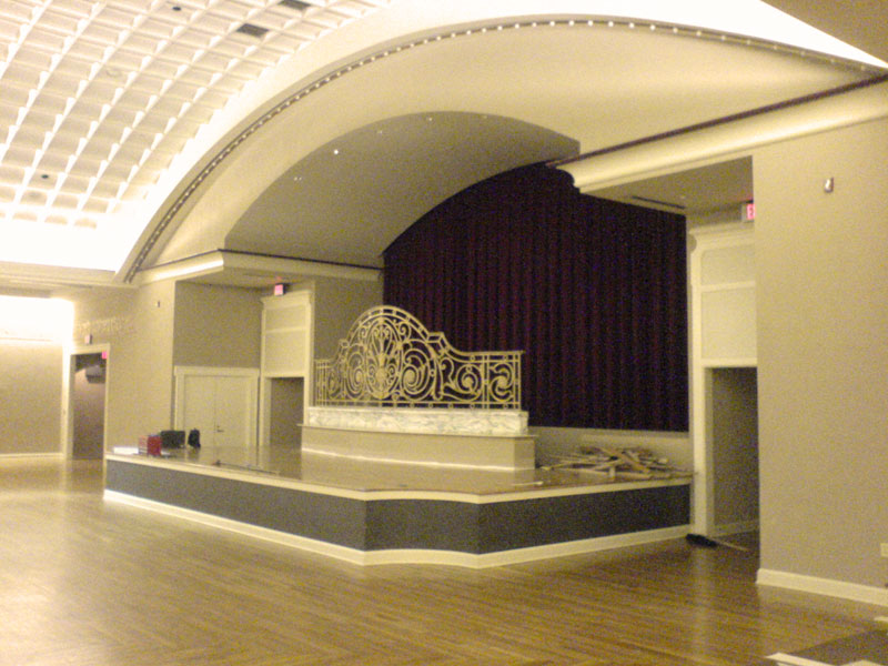 The west wall of Music Hall Ballroom, before construction began to create a home for the Albee Mighty Wurlitzer organ.