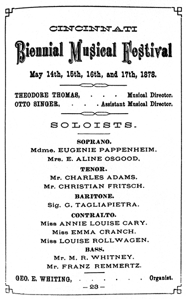 1878 Souvenir Program: Opening of Cincinnati Music Hall: Third Biennial Musical Festival. From the Collection of The Public Library of Cincinnati and Hamilton County