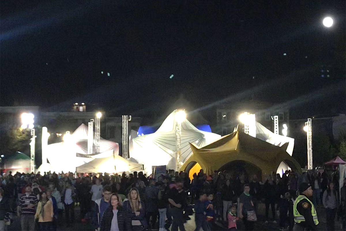 The Hunter's Moon shines over the Architects of Air exhibit at BLINK 2019