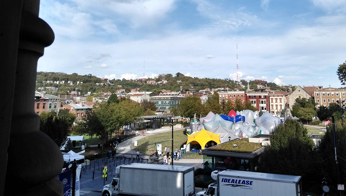 Architects of Air for BLINK 2019 in Washington Park, as seen from inside Music Hall