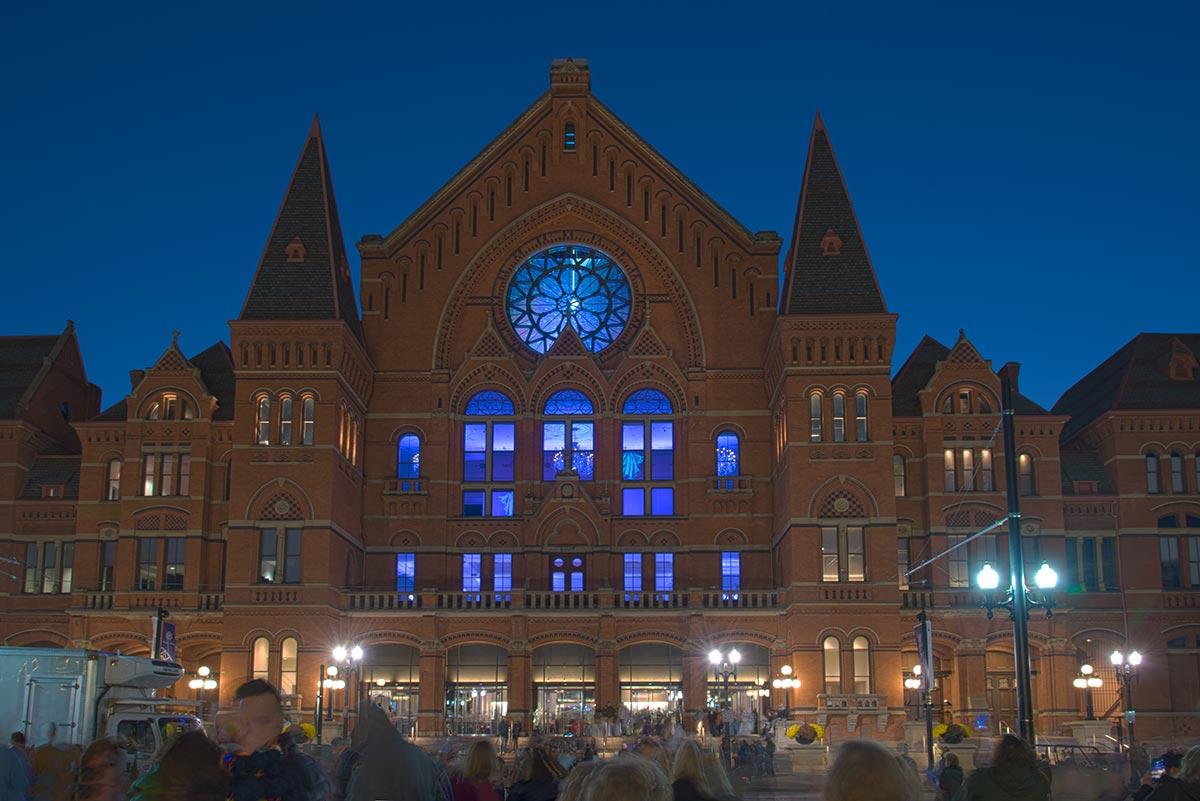 Cincinnati Music Hall, bathed in blues for BLINK 2019