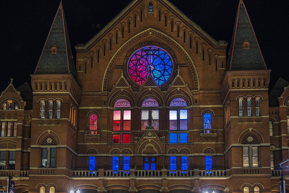 Cincinnati Music Hall sparklng in red, white and blue for BLINK 2019