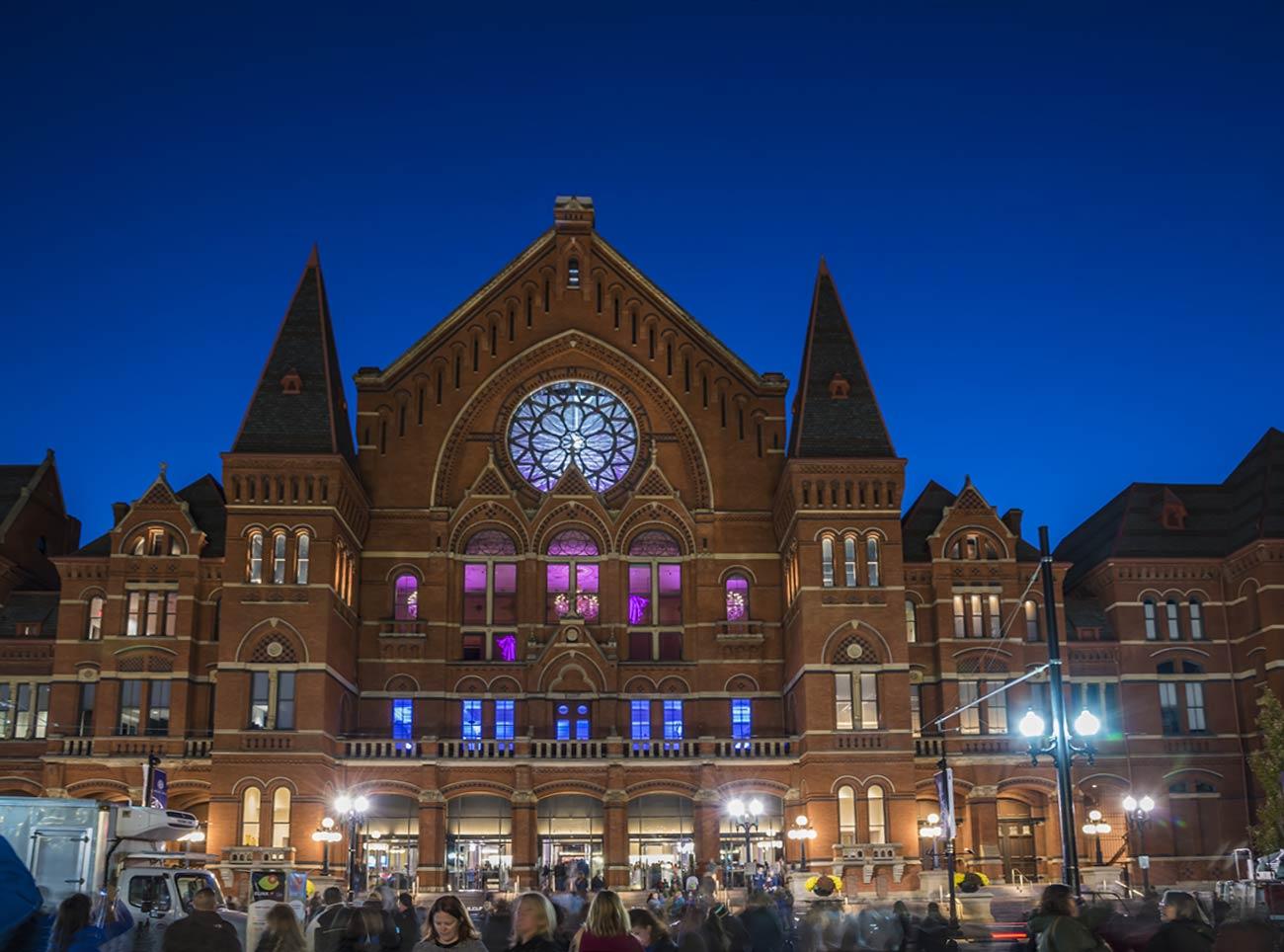 Cincinnati Music Hall at dusk, lighted for BLINK 2019