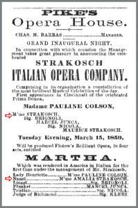 1859 Amalia Patti Strakosch-Italian Opera Co. Pikes Martha