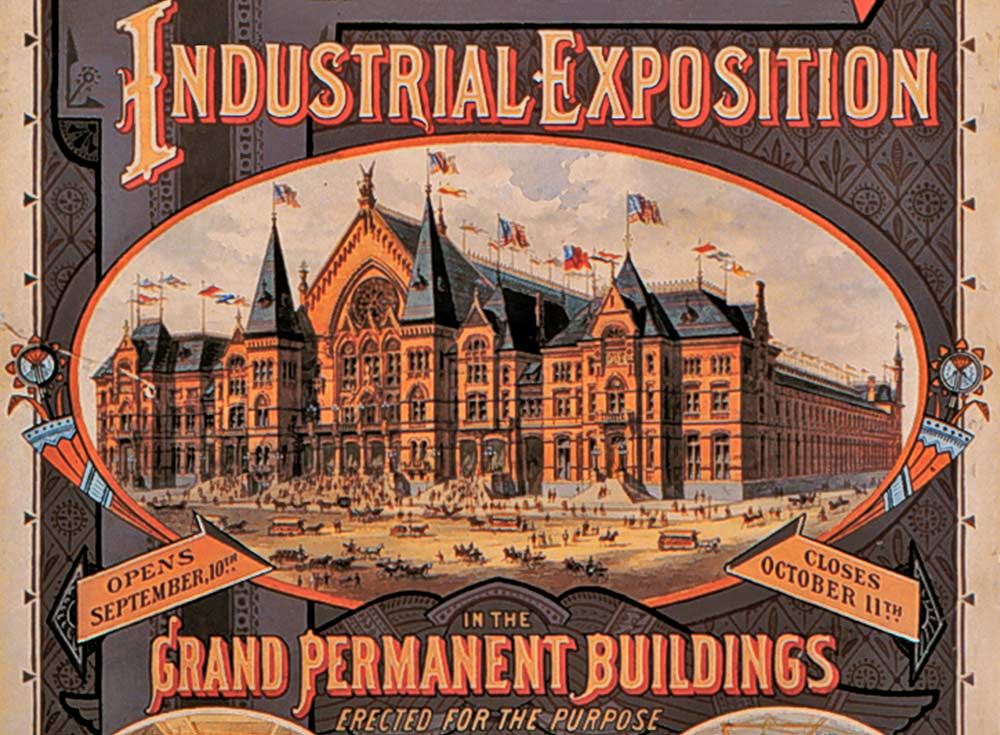"The new ""buildings"" or wings, as shown in the 1879 poster for the Industrial Exposition"